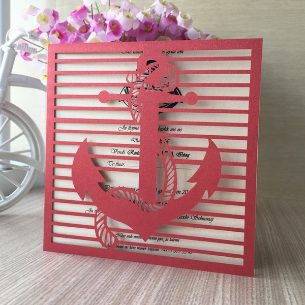 25Pcs/Lot Wedding Invitations Card Envelope Anchor Pattern Sculpture Marriage Invitations Card Sea Theme Activity Invitations Supplies