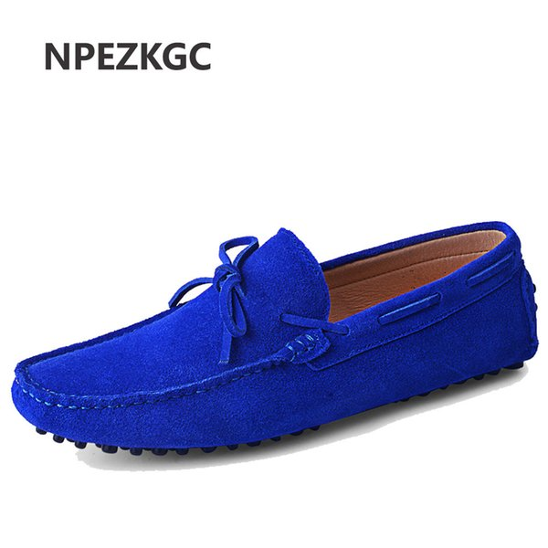 Genuine Leather Men Shoes Nubuck Leather Men Loafers Fashion Plus Size Sping Autumn Mens Shoes Casual Shoes 9 Colors Size 38-48