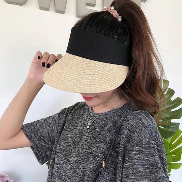 Simple Summer Straw Sun Hat Women Pearl Backable Sun Visor Hat with Big Heads Wide Brim UV Protection Unisex Fashion Cap