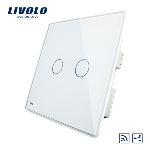 Livolo UK standard 2gang 2way Remote Home Wall Light Switch,White Crystal Glass PanelNo remote controller