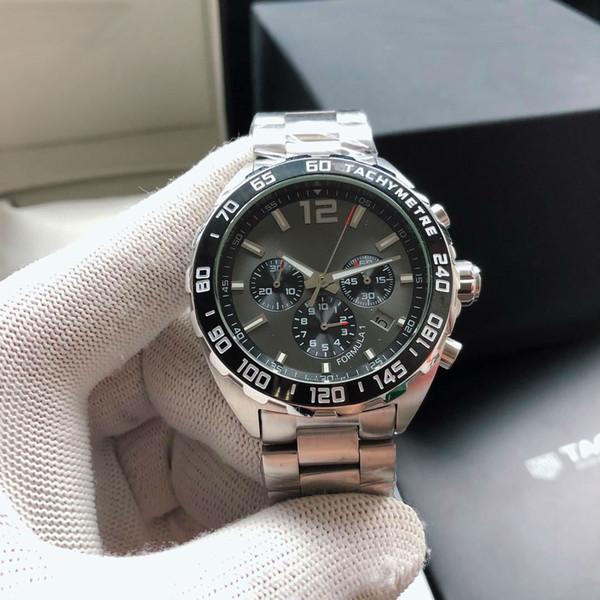 Diseñador de F1 reloj suizo de 43 mm de acero 316L de cuarzo Movimiento para el hombre de cumpleaños regalo de Navidad