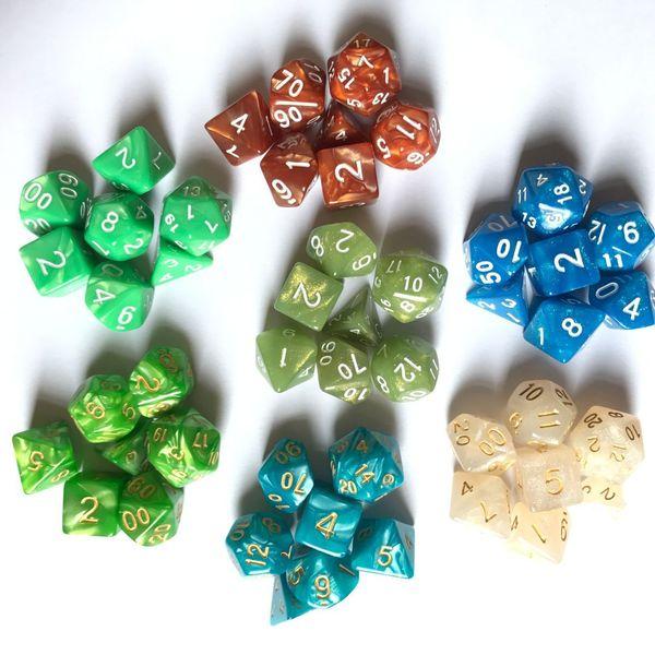 2019 Dadi acrilici poliedrici D4-D20 Party Game 7 pezzi / set dadi DND RPG MTG gioco sotterranei draghi dadi trasparenti dadi trasparenti regali M511Y