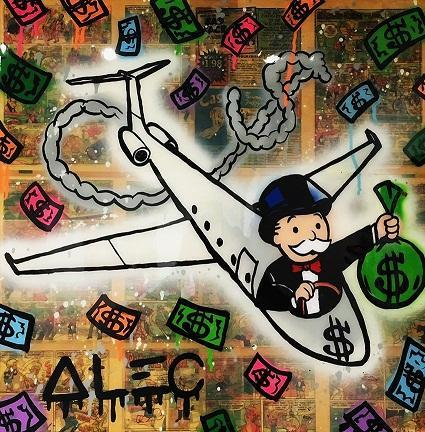 Alec Monopoly Hand Painted Oil Painting Street Art Pop Graffiti art Airplane Home Deco Wall Art On High Quality Canvas Multi Sizes g204