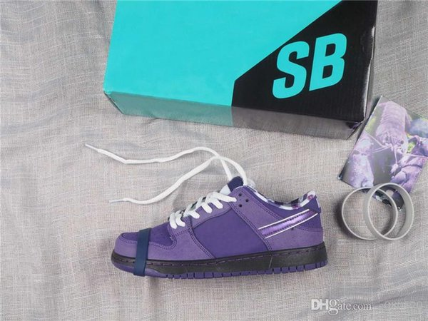 Release Concepts x SB Dunk Corte de baja tensión Púrpura Hombre y mujer Zapatillas deportivas al aire libre con estuche auténtico OG BV1310-337