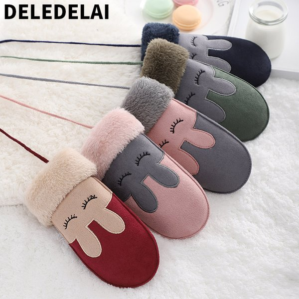 DELEDELAI 2018 winter autumn warm full finger boys girls gloves rabbit kawaii fashion new mittens wind proof item number 892