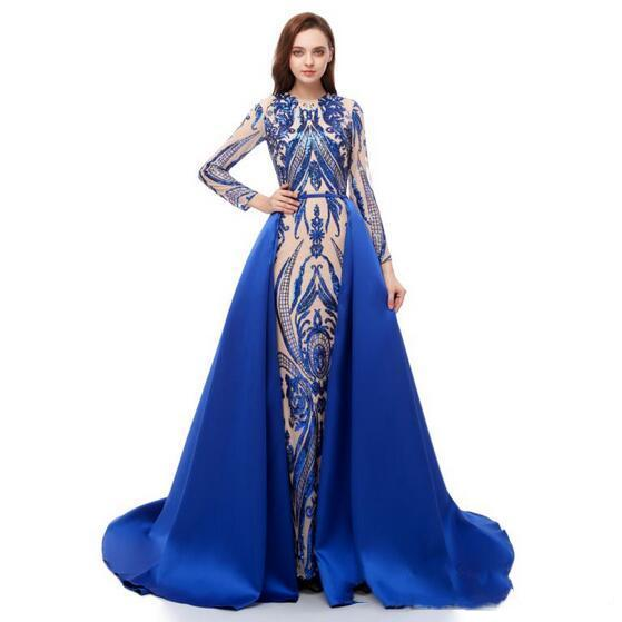 Latest Detachable Overskirt Blue Prom Dresses Peplum 2019 Luxury Saudi Arabia Formal Evening Gowns Long Sleeves Pattern Lace Sequin Applique