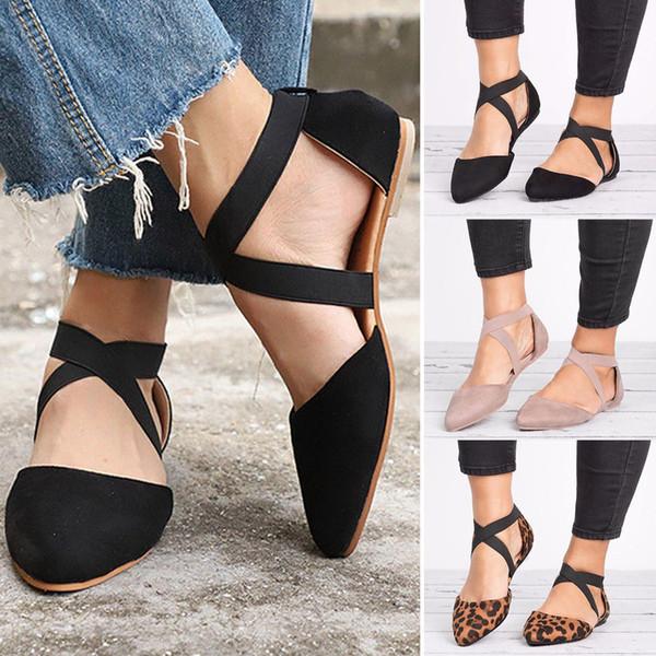 2019 Novas Mulheres Sapatos Mulheres Sandálias Dedo Apontado Plana Spike Saltos Elásticos Sandálias de Leopardo Moda Casual Único Sapatos