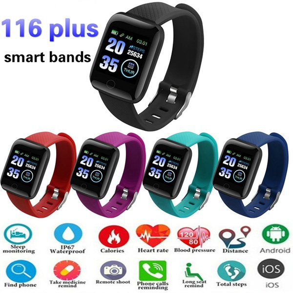 116 Plus Smart watch Bracelet Fitness Tracker Heart Rate Step Counter Activity Monitor Band Wristband PK 115 PLUS for iphone samsung Android