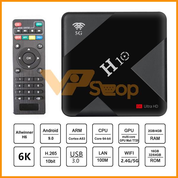 Android 9.0 H10 Smart TV Box 4GB Ram 64GB 32GB Rom Allwinner H6 LCD Digital Display Quad Core 6K Mini TV Stick Dual Wifi Set Top Box