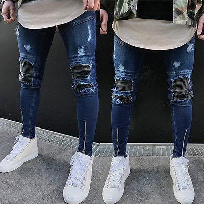 Mens Rasgado Slimfit Jeans Skinny Stretch Denim Distress Desgastado Motociclista Jeans A5