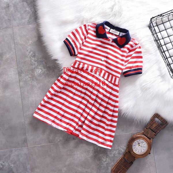 bambini vestiti ragazze Abiti bambina risvolto striscia pizzo a forma di cuore ricamo Gonna a pieghe ruffle abito da principessa D-r3
