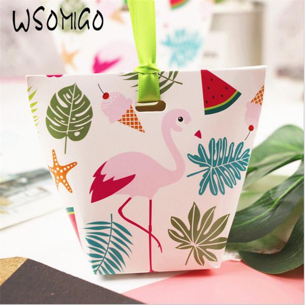 WSOMIGO 5pcs Pink Flamingo Creative Boîte de bonbons de mariage pour le cadeau d'invité de mariage cadeau Emballage Baby Shower Party Supplies-S