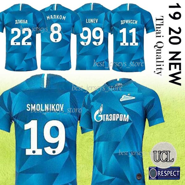 Tay FC Zenit Ana Mavi Futbol Forma 2019 20 Zenit 10 Dzyuba 7 Azmoun Futbol Gömlek 27 Ozdoev Futbol Üniformalar