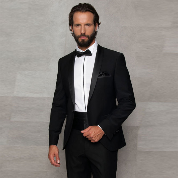 Black Two Pieces Mens Suits One Button Groomsmen Wedding Tuxedos Shawl Lapel Groom Suit With Jacket Pants And Bow Tie Cheap Prom Blazers