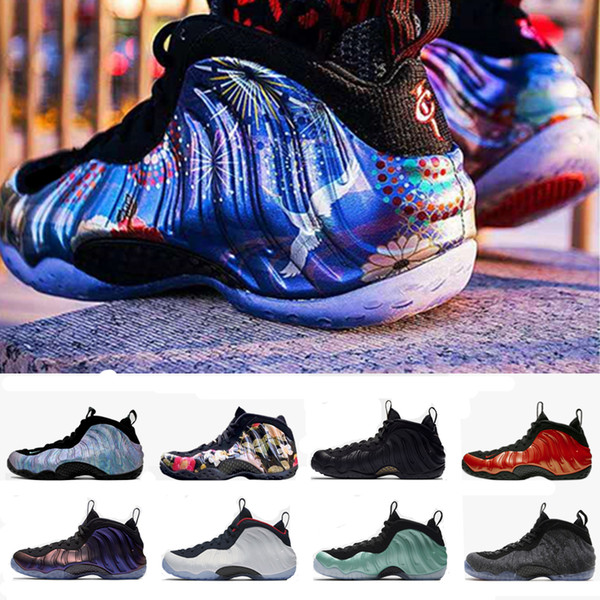 8fae0ce0cd646 2019 Foam One Abalone Habanero Red Floral Penny Hardaway Men Basketball  Shoes Eggplant Purple Copper Mens Foams Sport Sneakers Kids Basketball Shoes  ...