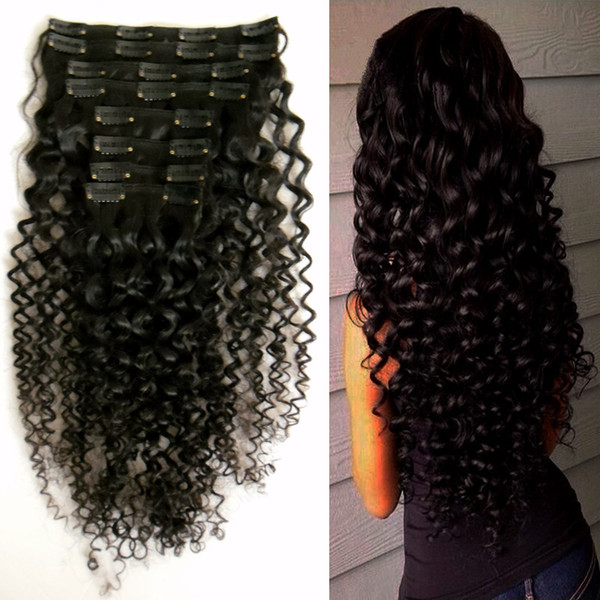 "Hair clip human hair 8 Pieces/Set Brazilian Remy Kinky Curly Clip In Human Hair Extensions Natural Color 8 Pieces/Set Full Head Sets 10""-26"""