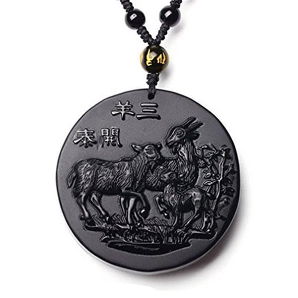 Fine Jewelry Handmade Obsidian Auspicious Three Goat Sheep Pendant Necklace Free Shipping