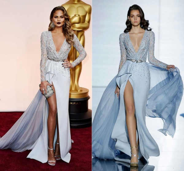 Zuhair Murad 2019 New High-Thigh Slits Evening Dresses Long Sleeve Major Beading CHRISSY TEIGEN Prom Special Occasion Gowns Celebrity Dress