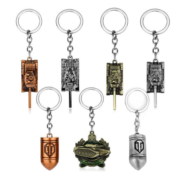 2019 Games Jewelry World of Tanks WOT Bullet Tank Keychain Key Holder for Car Key Bags Keyrings Men Boys Souvenir