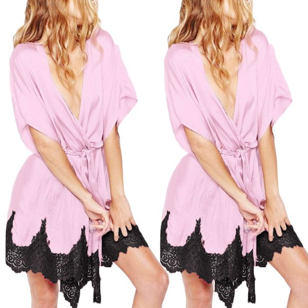 MUQGEW sexy pink night dress bathrobe girl Women Sexy Silk Kimono Dressing Gown Bath Robe Lace Splice Lingerie Nightdress#Y3