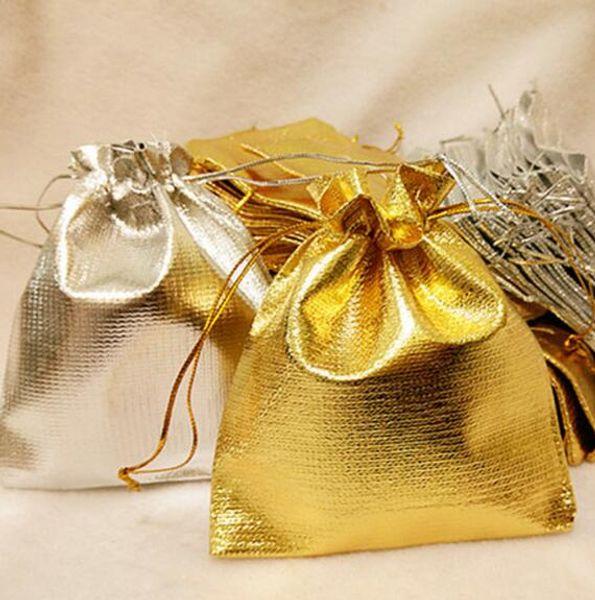Banhado A ouro Cetim Gaze Sacos de Jóias Fit Estilo Europeu Bead Charme e Pulseiras Colares Bolsas Bolsas de Presente de Natal Saco de Presente 4 tamanhos