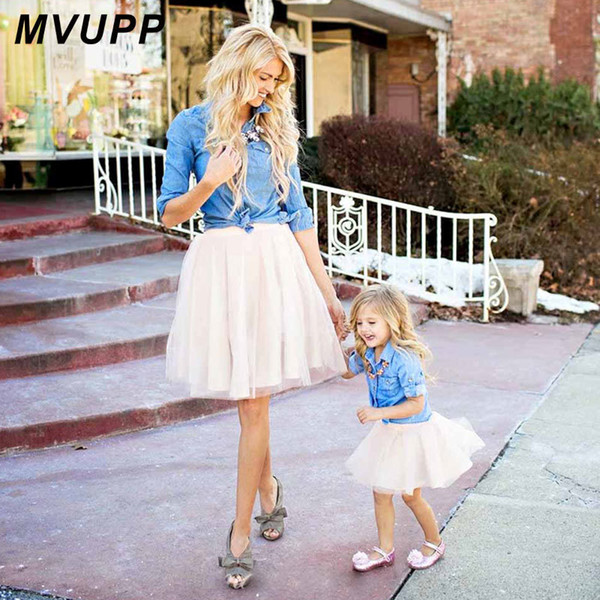 Mother Daughter Dresses Family Matching Clothes Suit Denim Shirt Skirts 2pcs Mommy And Me Sets Two-piece Baby Girl Mom Dress Y19051103
