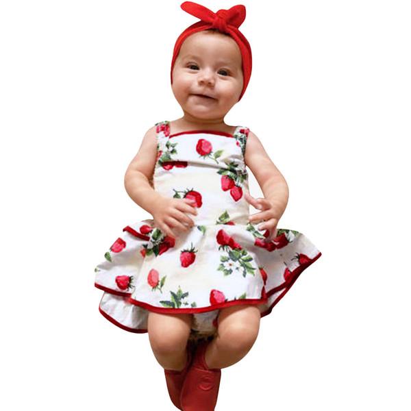 Cute Baby Girls Infant Kids Strawberry Print Romper Clothes Princess Dress little girl dresses 2019 summer vestidos infantil #sg