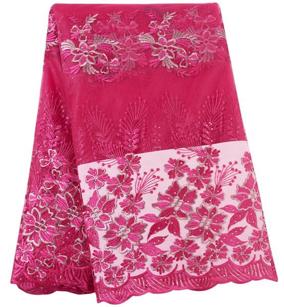 Nuovo arrivo 2019 nigeriano lacci africani tessuto di alta qualità francese tulle tessuto di pizzo per le donne vestito 424-14