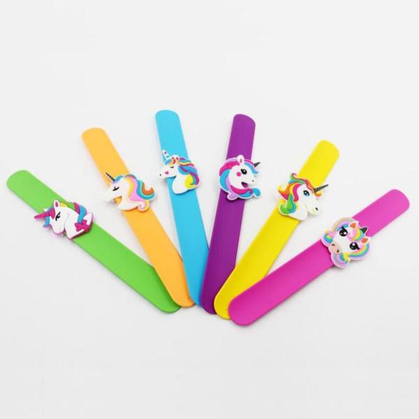 New Wonderful Multicolor Unicorn Silicone Slap Snap Wrap Bracelet Wristband Jewelry Kids Cute Gift Free Shipping