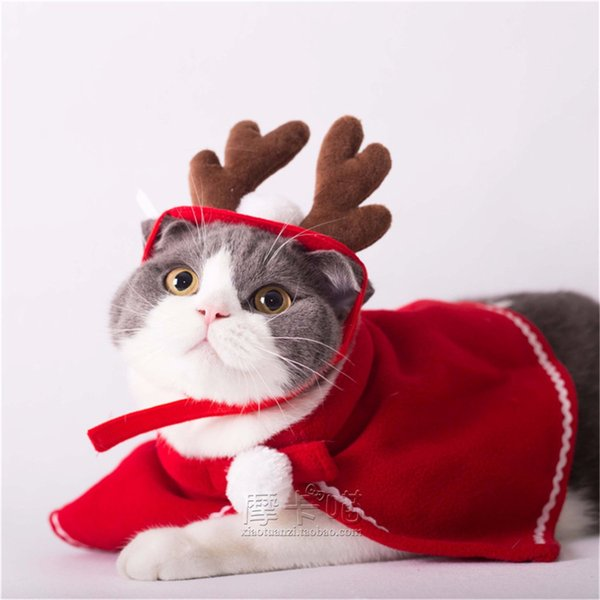 Red Cute Pet Cat Clothing Christmas Party Puppy Cat Clothes Costumes Lovely Cloaks Mantle with Buckhorn Set Suit For Cats