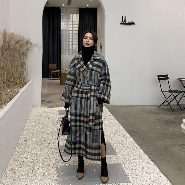 Tecidos coreanos versão coreana xadrez original Chevron estilo de banho solto frente e verso Casaco de caxemira Casaco de lã das mulheres