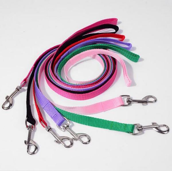 top popular 200pcs lot Width 1.5cm Long 120cm Nylon Dog Leashes Pet Puppy Training Straps Black Blue Dogs Lead Rope Belt Leash 2020