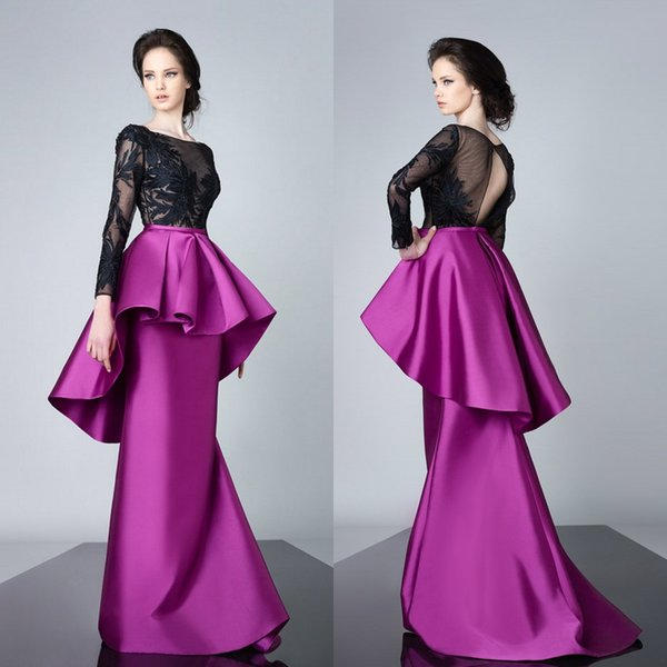 Peplum 2019 Mermaid Prom Dresses Long Sleeve Satin Lace Appliqued Evening Gowns Sweep Train Cheap Formal Mother of The Bride Dresses