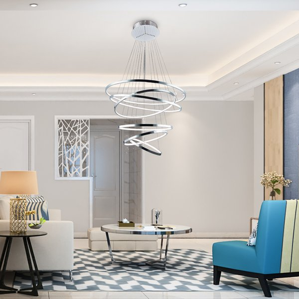 Acquista Youlaike Modern Foyer LED Lampadario Illuminazione Soggiorno 6  Anelli Lampada A Sospensione In Acrilico Cromato Illuminazione Di Lusso  Scale ...