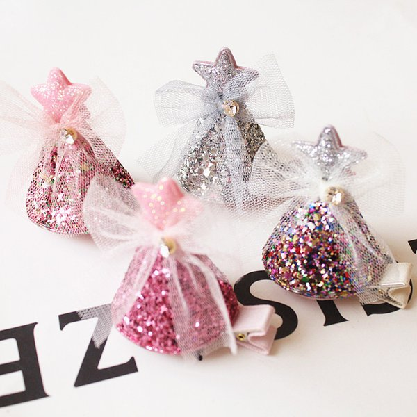 2019 New baby Hairpins 20pcs/lot Delicated Christmas Hat Shape Hairpin with Star Prince Hair Clip Kid Glitter Felt Barrette Gzuze Bowknot
