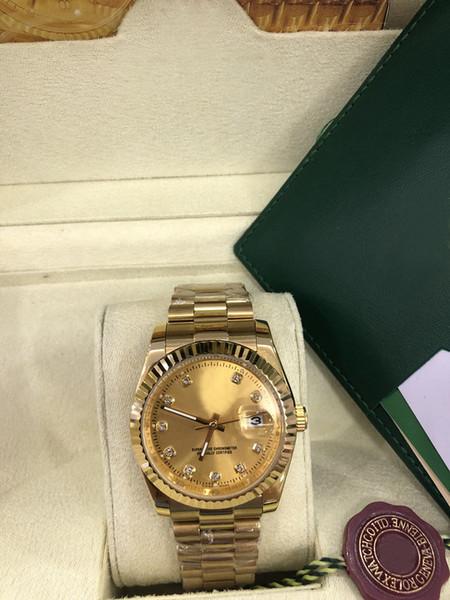 Nuevo cuadro de estilo original con los relojes de lujo de diamantes de línea para hombre 116238 de 41 mm automático de los hombres de moda del reloj del reloj