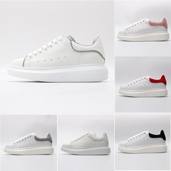 Alexander Mcqueen Lujo Rojo Negro Blanco Plataforma Zapatos casuales clásicos Zapatos casuales de cuero Vestido de lona para mujer para hombre Zapatillas deportivas 36-44