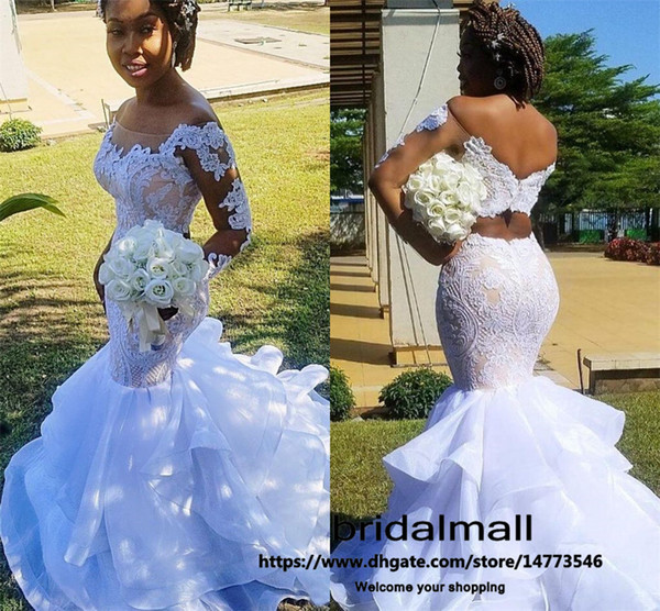 2020 arabo Aso Ebi Illusion sposa merletto sexy abiti Mermaid maniche lunghe da sposa abiti da sposa economici Organza Abiti da sposa vestidos