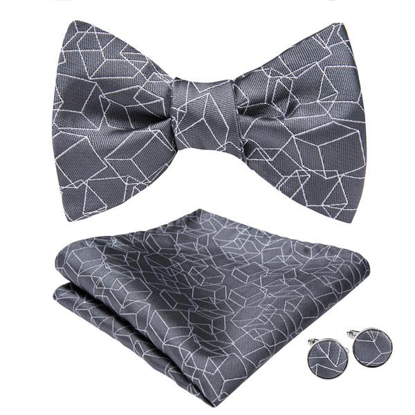 Hi-Tie Fashion Bowties Men Grey Geometric Male Marriage Butterfly Wedding Bow Ties With Handkerchief Cufflinks Freeing Shipping AL-068