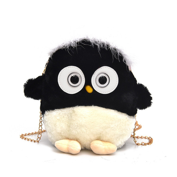 Kawaii Fun Cartoon Plush Little Penguin Bags Women Messenger Bag Chain Mini Purse Handbag Girl Shoulder Bag Fashion Brand Bolsa