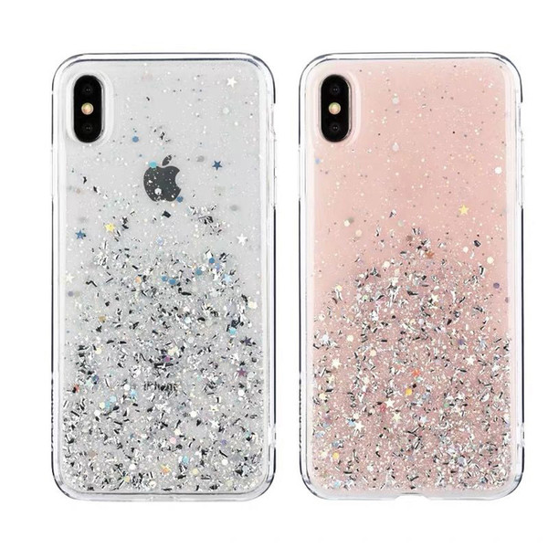 Ultra Clear Glitter Phone Case Cover For iPhone Xr Xs MAX 6 7 8 Plus Case Platinum Sparkle Silicone Soft Case