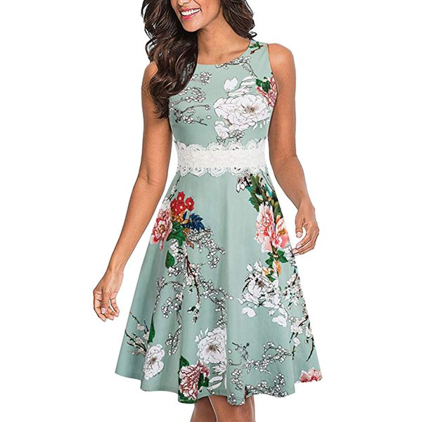 2019 New Fashion Summer Dress Women's Dresses's Sleeveless Print Cocktail A-Line Embroidery Party Wedding Guest Dress vestidos