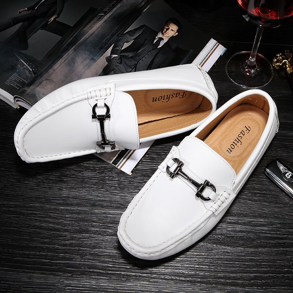 White Shoes Flats Men's 2019 Luxyry Designer Brand Male Casual Car Driving Shoes Leather Slip-On Moccassin Mens Loafers Man Zapatillas