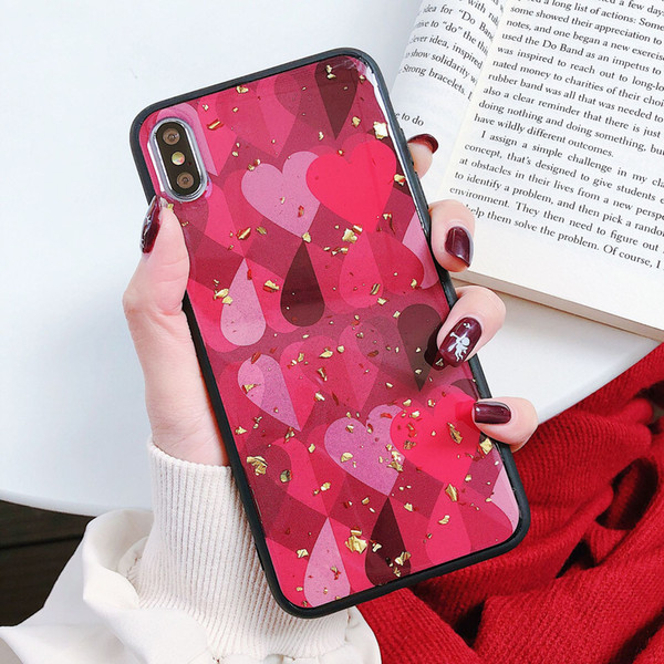 Breathable Love Heart Glitter Crashproof soft Edge Back Cover TPU Cell Phone Case Protective Covers For iPhone X XR XS MAX 6 6S 7 8 PLUS