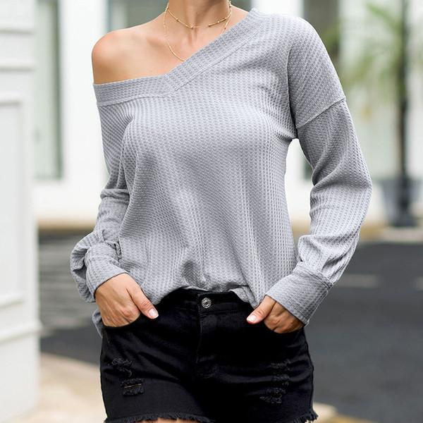Дизайнерские женские футболки топы Марка Sexy V-образным вырезом вафельные фонари без бретелек с рукавами футболки топы Роскошные осенние женские топы