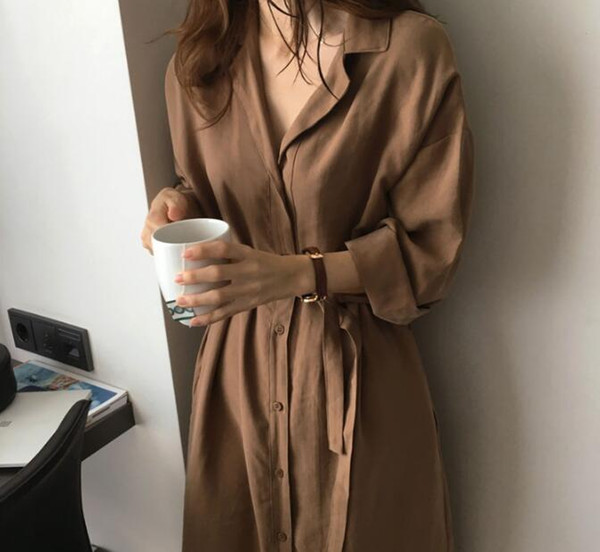 2019 tour mince manteau trench femmes femme coupe-vent en vrac solide unique poitrine vers le bas col coton longues manches bandage
