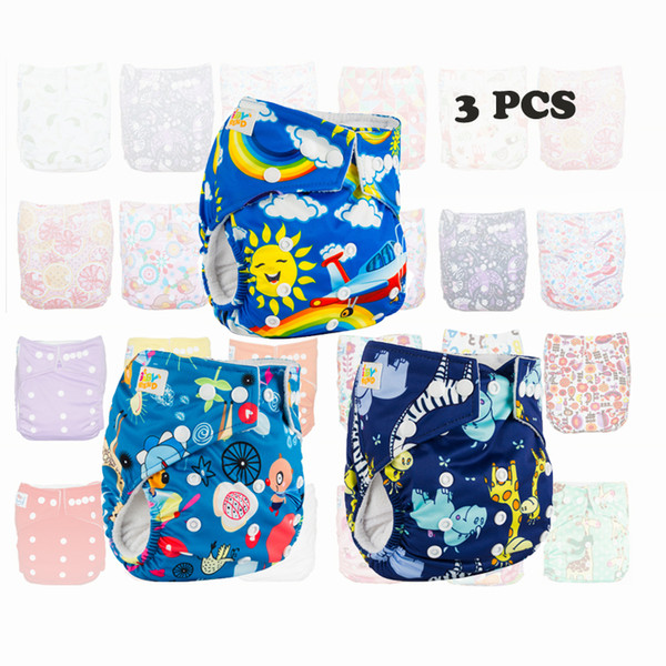 Babyfriend 3 pcs Baby One Size Reusable Cloth Nappy Cover Washable Baby Nappy Cloth Diaper Unisex with Microfiber insert