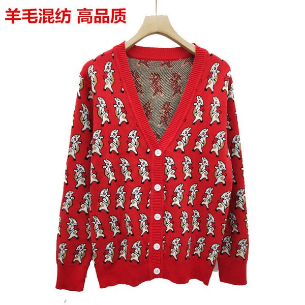 2019 spring wool blend jacquard piglet pattern thin cardigan coat female spot real shot single row buckle off shoulder tops clothin horse