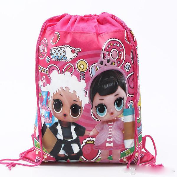 Cartoon Aufbewahrungstaschen Birthday Party Favor für Mädchen LOL Puppe Geschenk Tasche Kordelzug Tasche Rucksack Kind Spielzeug Paket Schwimmen Strandtasche