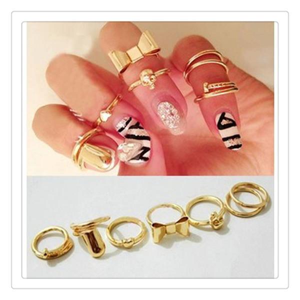 Hot 7Pcs Set Finger Rings Vogue Gold Skull Bowknot Heart Design Simple Nail Band Mid Finger Rings Set Nail Art Ring